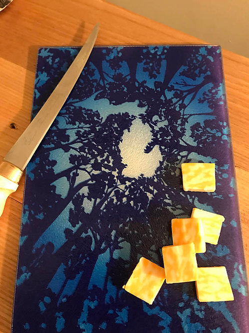 Treetops Tempered Glass Cutting Board