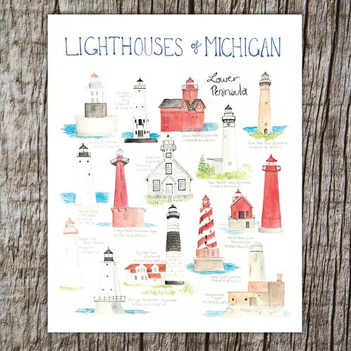 Lighthouses of Michigan Print by Brush & Bark