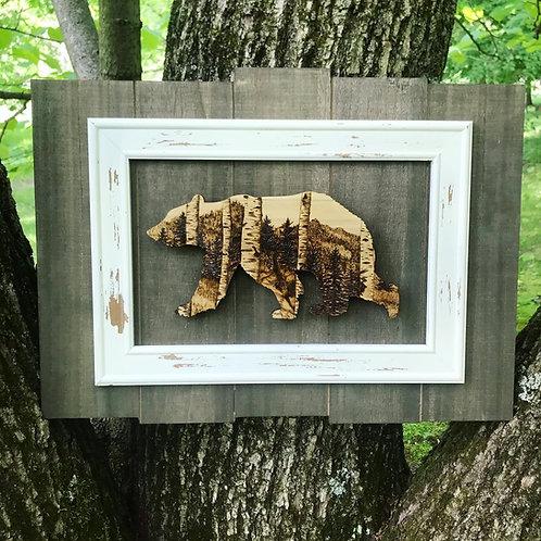 Framed Wood Burned Bear (single)