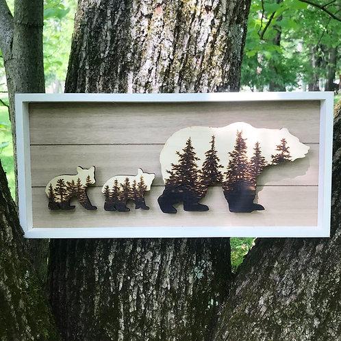 Framed Wood Burned Bears (twins)