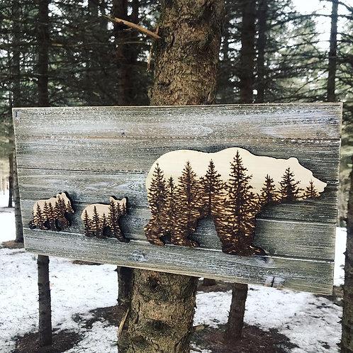 Woodland Bears Wood Burned Art by Tom Reverman