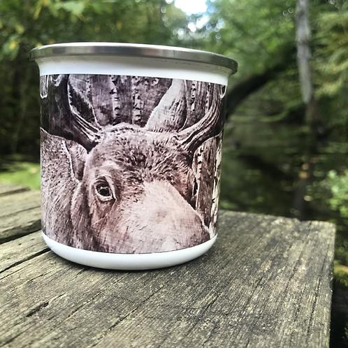 Wood Burned Moose Camp Mug