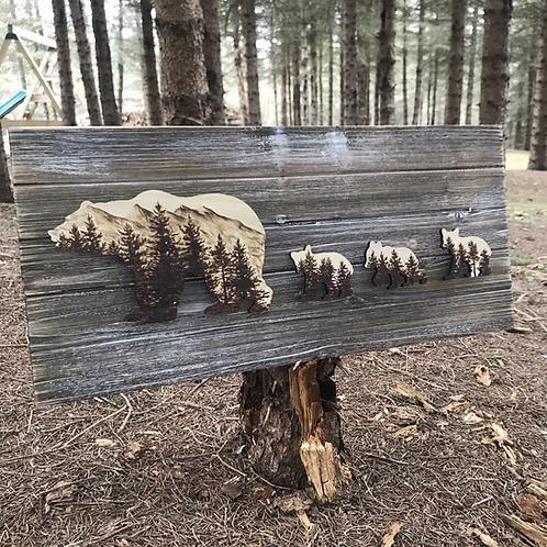 Mountain Bears Wood Burned Art by Tom Reverman