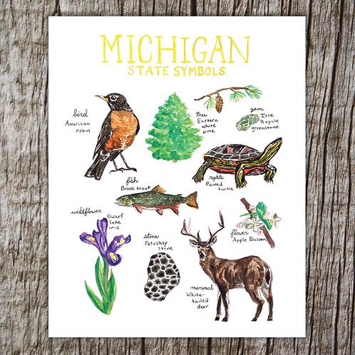 Michigan Symbols Print by Brush & Bark