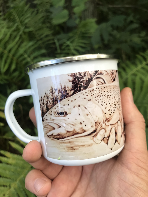 Wood Burned Rainbow Trout Camp Mug