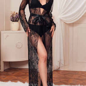 Floral Lace Belted Sheer Robe - Medium