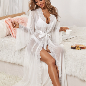 White Lace Longline Belted Robe - Large