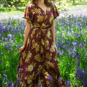 Floral Wine colored wrap dress - Medium