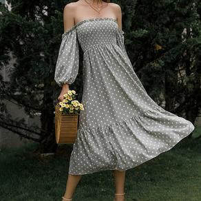 Polka Dot Off Shoulder Lantern Sleeve Ruffle Hem Dress - Medium
