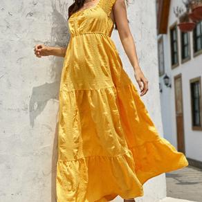 Flounce Hem Backless A-line Dress - X-Small