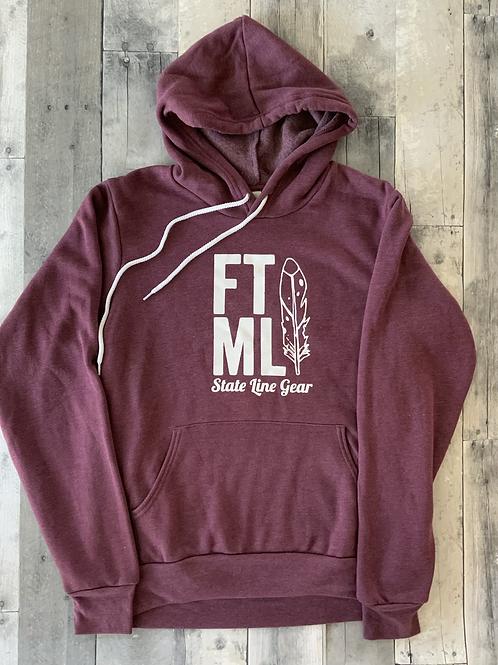The Original FTML hoodie - Heather Maroon and White