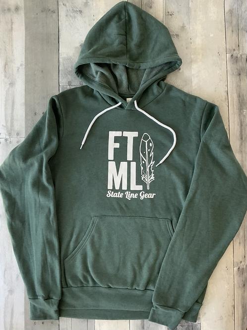 The Original FTML hoodie - Heather Green and White