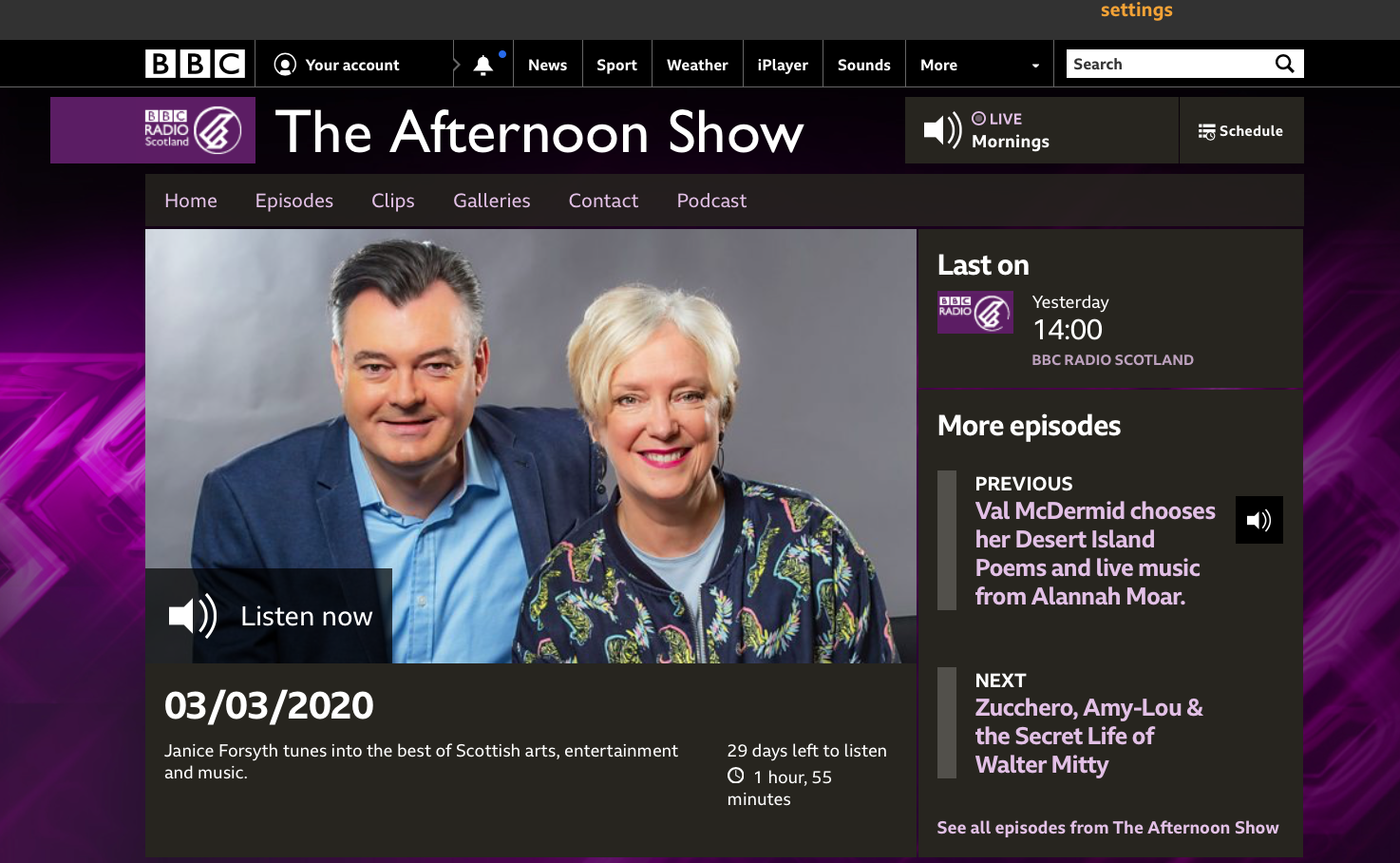 BBC Radio Afternoon Show 03.03.20