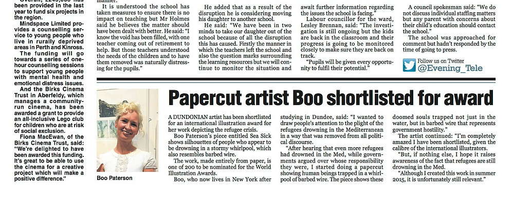 Coverage of the shortlisting in Evening Telegraph