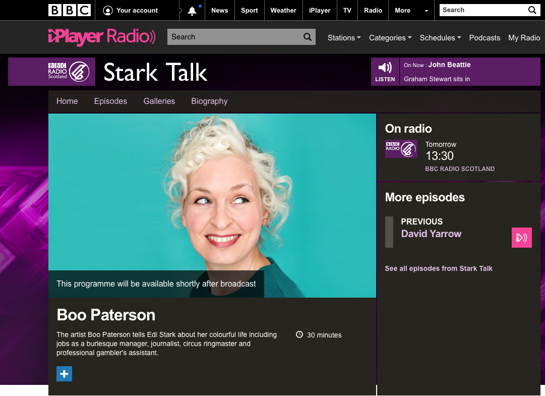 BBC Radio, Stark Talk interview