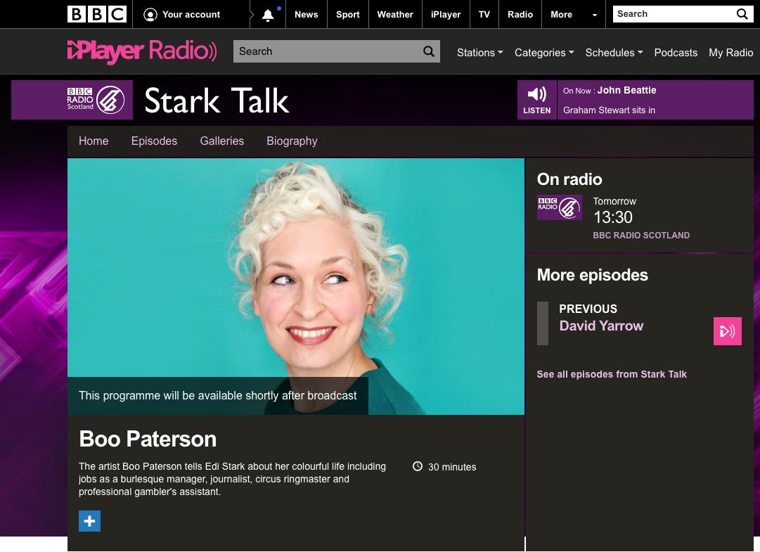 BBC Radio, Stark Talk interview