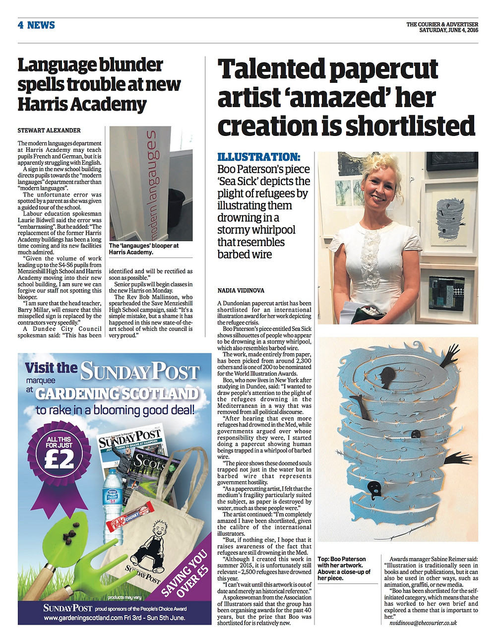 Coverage of shortlisting in The Courier
