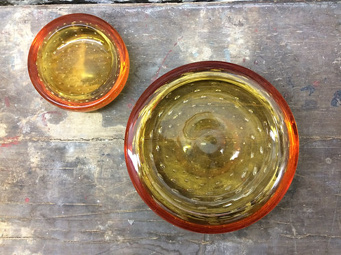 Two orange Whitefriars dishes. SOLD
