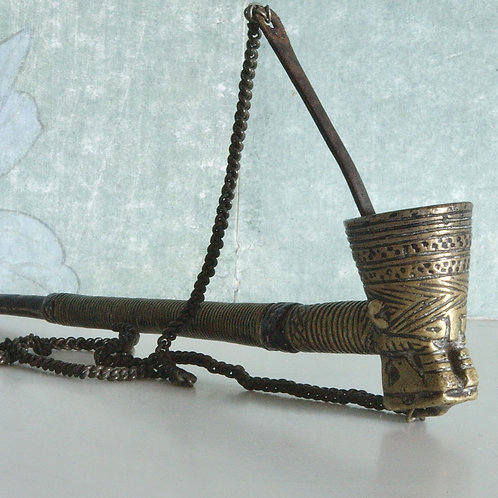 A brass Igorot pipe.  Northern Luzon, Philippines. Early 20th C