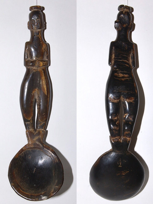A Timor horn spoon with figurative handle. Indonesia.