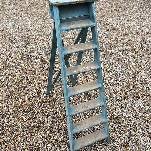 A duck egg blue painted step ladder.