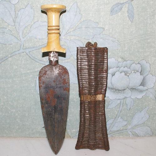 A Mangbetu knife with ivory handle. Congo.