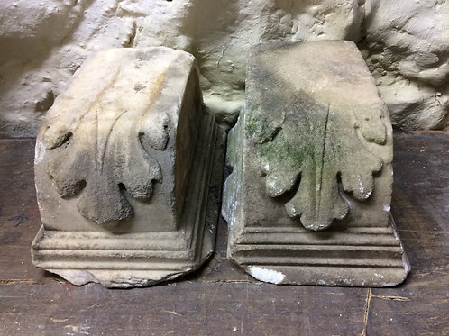A pair of 19th C marble acanthus doorstops SOLD