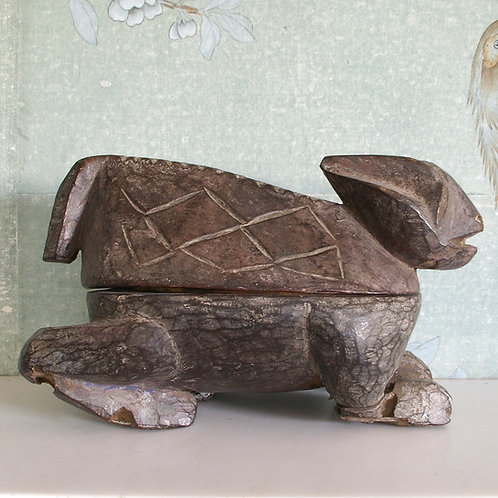 A Yoruba Kola nut box in the form of a rabbit. Nigeria.