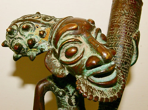 A Cameroon brass figure. Possibly Bamileke or Bamum.