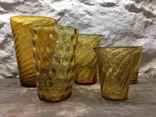 Five Whitefriars orange vases. SOLD