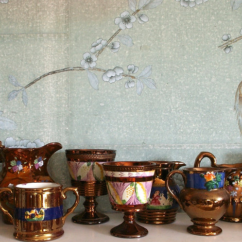 A large collection of Late 19th C lustre. All seem to be in good condition.