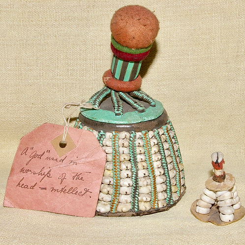 A Yoruba cowrie shell ibori or Ile Ori and another miniature example.