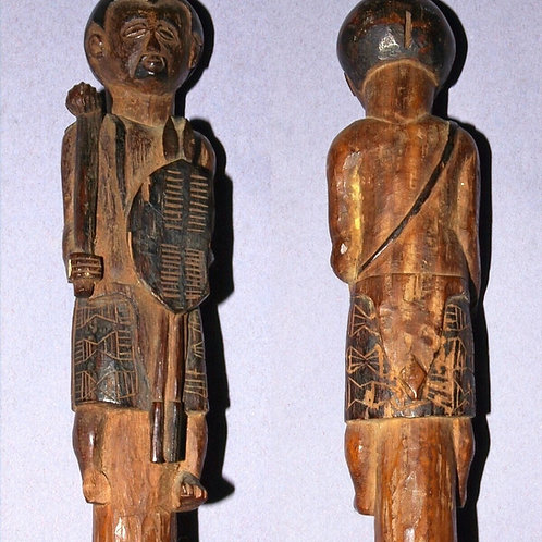 A Zulu staff with warrior finial and boot to tip.