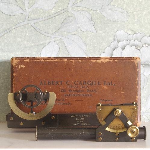 Abney clinometer level and Elliott's of london clinometer. (Level missing). G.R