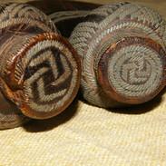 Two Kuba pewter inlayed knives.