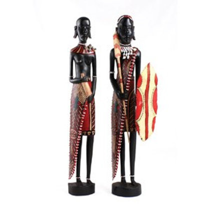 "Wood -African Couple Satute 24"" Tall"