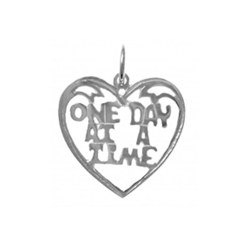 One Day At A Time Heart Sterling Silver Pendant (Style #156-15)