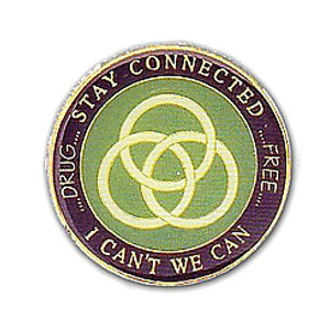Stay Connected I Can't We Can (Drug Free) Medallion