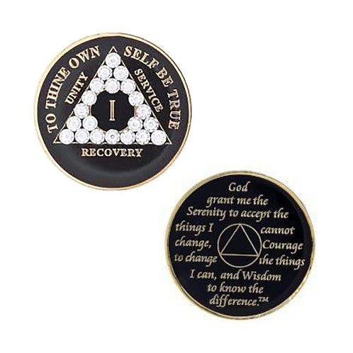 AA Black Bling Medallion (1 to 20 years)