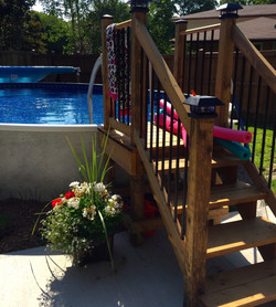 Pool Stairs wood and aluminum
