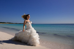Bride enjoying the beach