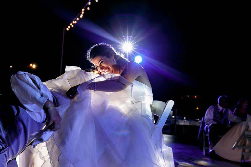 Bride and groom garter tradition