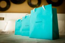 Bridesmaids gift bags in aqua green