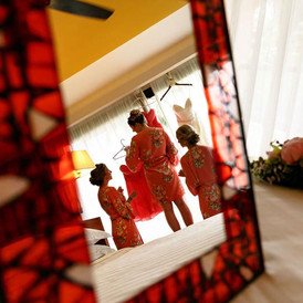 Girls getting ready mirror reflection