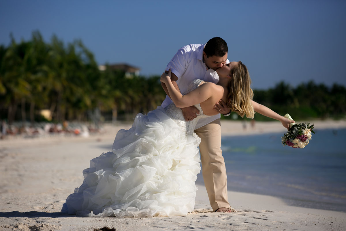 Wedding couple portrait on the beach