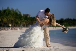 Wedding couple portrait on the beach