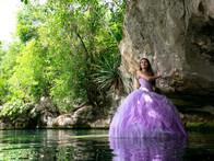Quinceañera session in a cenote