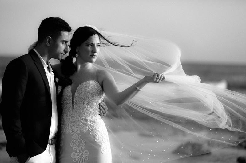 Romantic veil in the Wind on the Ocean