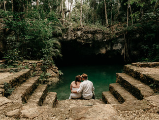 wedding photography in a cenote