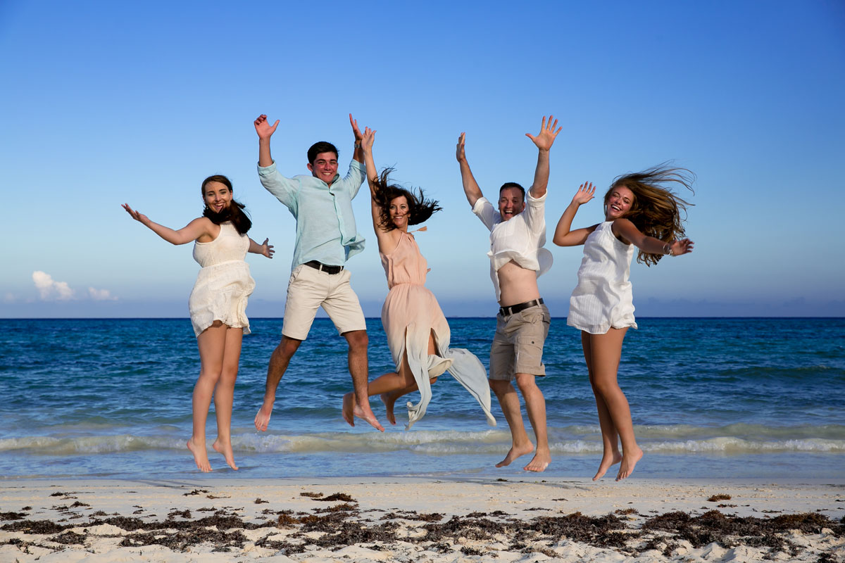 Family Jumping in the air